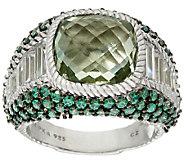 Judith Ripka Sterling Green Mint Quartz & Pave Ring - J324035