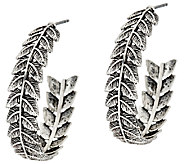 Sterling Silver 1-1/4 Leaf Design Hoop Earrings by Or Paz - J324135