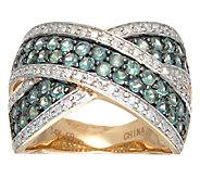 Alexandrite & Diamond Bold Cross Over Ring 14K Gold 1.10 cttw - J324335