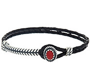 Gemstone Sterling Silver Braided Leather Bracelet by American West - J325935