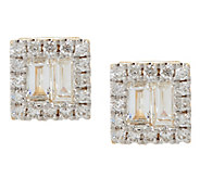 Baguette Halo Diamond Stud Earrings, 14K, 8/10 cttw, by Affinity - J326535
