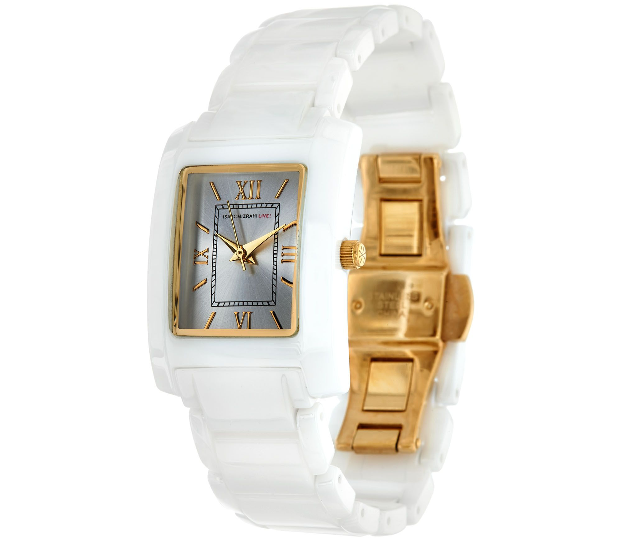 Isaac Mizrahi Live! Ceramic Rectangular Dial Watch