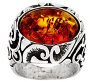 Sterling Silver Scroll Design Gemstone Ring by Or Paz - J328035
