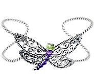 Carolyn Pollack Sterling Silver 1.25 cttw Gemstone Dragonfly Cuff - J328235