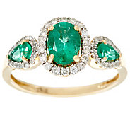 Oval & Pear Cut 3-Stone Design Zambian Emerald & Diamond Ring 14K, 0.90 cttw - J328435