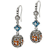 Barbara Bixby Sterling & 18K London Blue Topaz & Citrine Dangle Earrings - J329135
