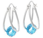 Gemstone Sterling Silver Captured Hoop Earrings 2.00 cttw - J329335