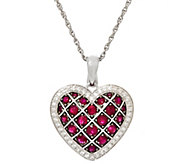 Precious Gemstone & Zircon Sterling Heart Enhancer w/ 18 Chain - J329435