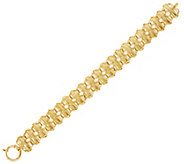 14K Gold 7-1/4 Woven Polished Bar Station Bracelet, 8.6g - J330135