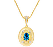 Genesi 18K Clad Blue Topaz Enhancer with 20 Chain - J330435