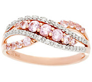 Baby Pink Spinel and Diamond Cross-Over Ring 14K, 0.60 cttw - J331335
