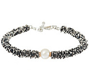 As Is Michael Dawkins Sterl. Granulation & Cultured Pearl Toggle Bracelet - J331935