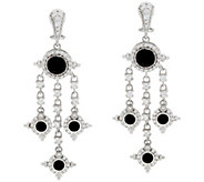 Judith Ripka Sterling Silver Faceted Black Spinel Earrings - J333335