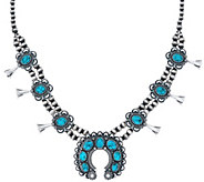American West Spiderweb Turquoise Squash Blossom Necklace - J334335