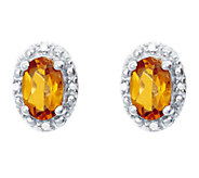 Sterling Oval Gemstone Stud Earrings with Diamond Accent - J336135
