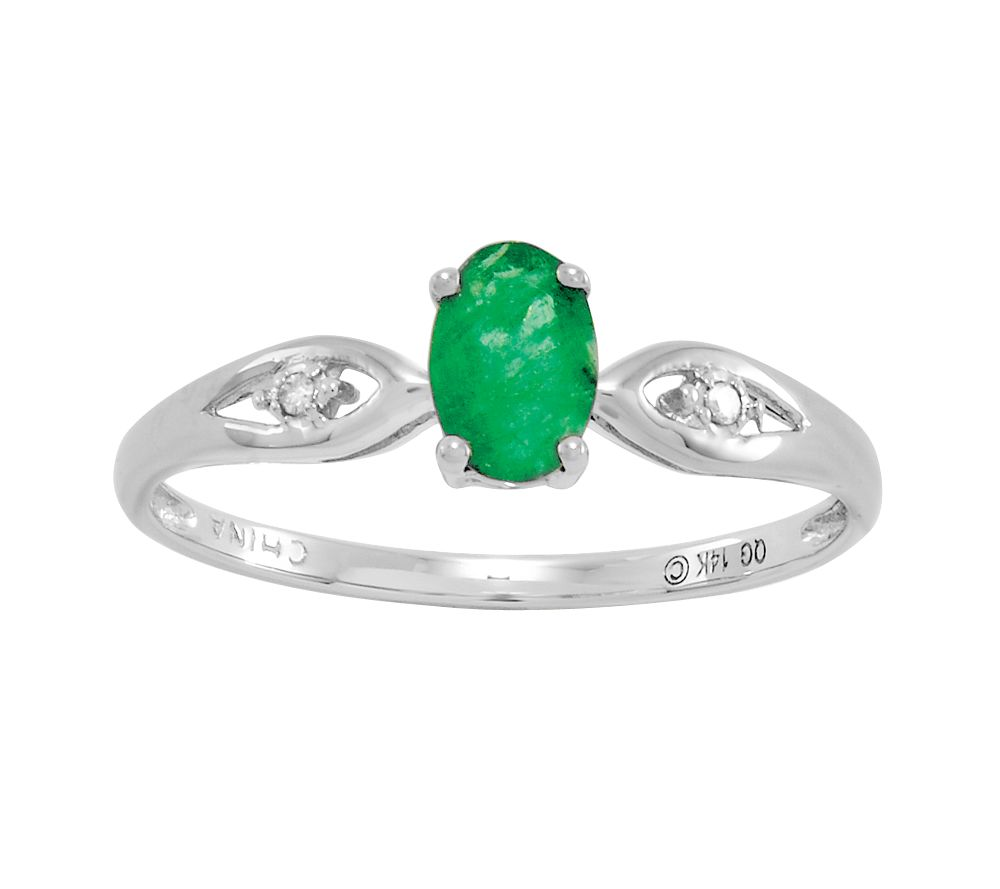 0 45 ct tw oval emerald ring 14k qvc