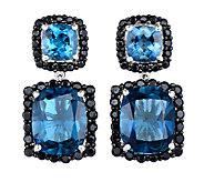 12.50cttw London Blue Topaz & Black Spinel Earrings, Sterling - J338635