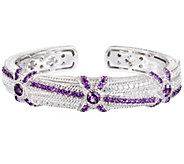 Judith Ripka Sterling 3.80 cttw Amethyst and Diamonique Cuff - J340935