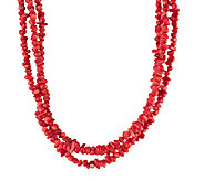 American West 17 Three-Strand Red Coral BeadedNecklace - J341135