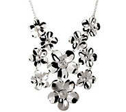 Italian Silver Sterling Polished Multi-Flower N ecklace - J341535
