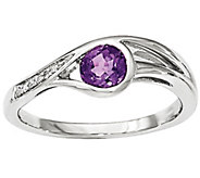Gemstone and Diamond Accent Loop Ring, 14K White Gold - J342235