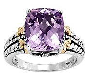 Sterling and 14K Gold Rectangular Gemstone Ring - J342335