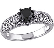 Round Black Diamond Ring, 1.00 cttw, Sterling,by Affinity - J344135