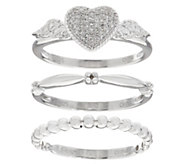 Set of 3 Stack Rings Sterling Silver by Affinity - J347535