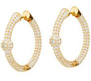Lauren G Adams Goldtone Pave Hoop Earrings - J347735