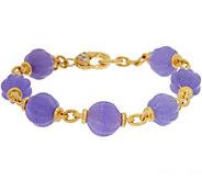 Judith Ripka 14K Clad Fluted Jade Bead 6-3/4L Bracelet - J348235