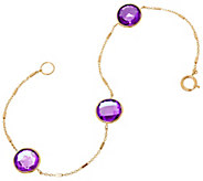 14K Gold Faceted Gemstone Station Bracelet - J348635