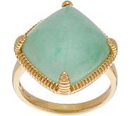 Burmese Jade Cushion Shaped Bold Ring 14K Gold - J349935