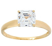 As Is Diamonique 1.00 cttw Solitaire Ring, 14K Yellow Gold - J351935