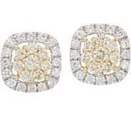 Natural Yellow & White Diamond Stud Earrings, 3/4 cttw, 14K, by Affinity - J352035