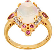 Ethiopian Opal, Pink Spinel and Diamond Ring, 14K - J354035