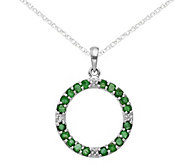 14K White Gold Gemstone & Diamond Circle Pendant w/18 Chain - J375035