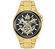 Bulova Mens Automatic Goldtone Bracelet Watch - J375135