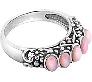 American West Sterling Pink Mother of Pearl Band Ring - J376335