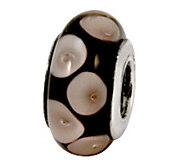 Prerogatives Sterling Gray on Black Glass Bead - J109236