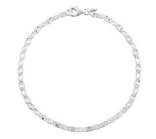 "UltraFine Silver 9"" Diamond Cut Confetti Link Anklet"