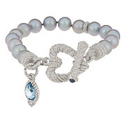 Judith Ripka Sterling Cultured Pearl Heart Toggle Bracelet w/Drop - J159936