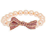 Kenneth Jay Lanes Pave Bow Simulated Pearl Stretch Bracelet - J284736