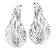 UltraFine Silver 1-5/8 Ribbed Sculpted Twist Design Hoop Earrings - J290136