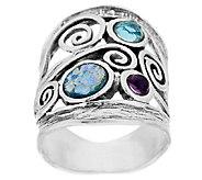 Sterling Silver Roman Glass & Gemstone Scroll Ring by Or Paz - J290336