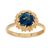 Adi Paz 1.35 ct London Blue Topaz Flower Design Ring,14K