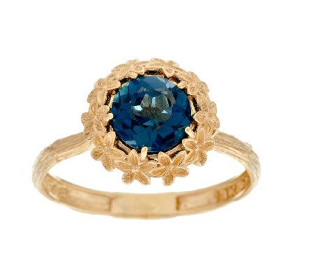 adi paz ct london blue topaz flower design ring 14k