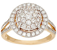Cluster Halo Diamond Ring 14K Gold 1.00 cttw by Affinity - J295636