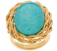 VicenzaGold Oval Turquoise Doublet Twisted Rope Border Ring, 14K Gold - J296236