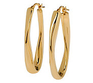 Veronese 18K Clad Wavy Oval Hoop Earrings - J299036