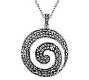 Suspicion Sterling Marcasite Swirl Pendant withChain - J311536